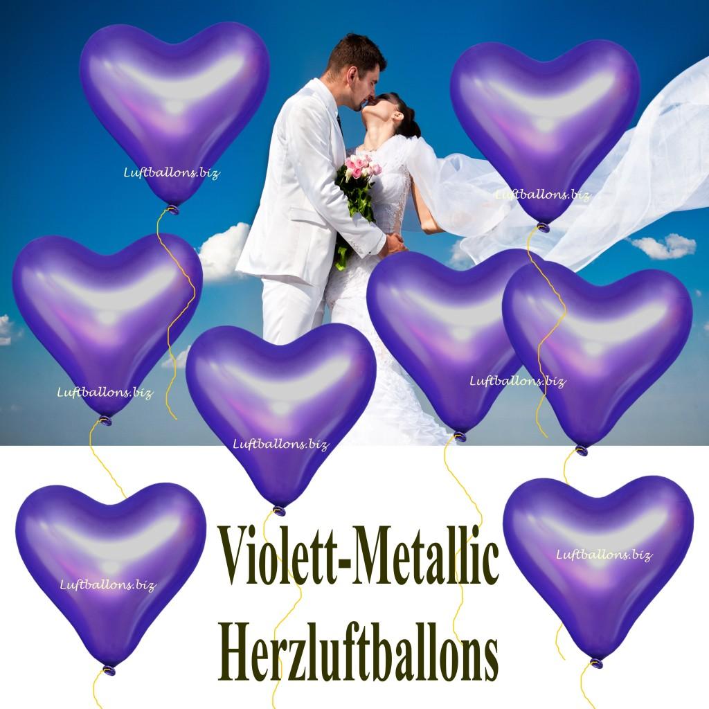Große Herzluftballons zur Hochzeit in der Farbe Violett